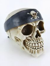 Collectible SKULL WITH HEADBAND Handpainted Resin Statue GANG BIKER SPORTS