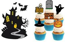 HALLOWEEN SCENE Edible Stand Up wafer paper cake topper 1 x large & 6 x small