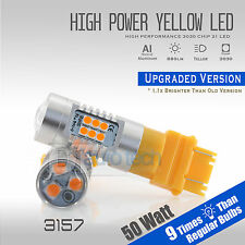 2X 3157 950LM 50W High Power LED Amber/Yell​ow Turn Signal Light Bulbs+Resistors