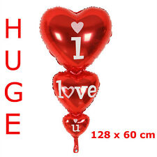 "HUGE 128 x 60cm ""I Love U"" 3 Tier Red Heart, Aluminium Foil Helium Balloon"