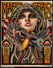 Mardi Gras Poster/ 2014 New Orleans/17x22 inches/Lady with Mask by Paul Dobleman
