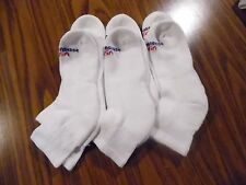 6 PAIR WOMANS SOLID WHITE NO NONSENSE ANKLE/QUARTER SOCKS NWOT SIZE 9-11