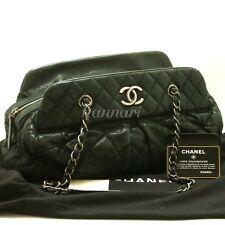 Authentic CHANEL 2011 Calfskin Antique Silver Chain Shoulder Bag Black Zip f09