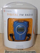 iConcepts Blue FM Digital Radio LCD Clock w/ Alarm & Stereo Headphones NEW