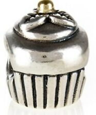 Authentic Pandora Silver & Gold Cupcake Charm # 790417 RETIRED