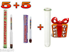 5 + 5 pcs 96% ALCOHOL HYDROMETER alcoholmeter MOONSHINE WHISKEY VODKA and GIFT