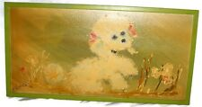Vintage Shabby Chic Poodle Oil Painting Canvas