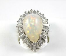Huge Pear Fire Opal Cocktail Ring w/Diamond Baguette Halo 14k White Gold 9.51Ct