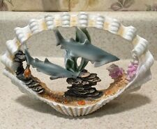 MAKO SHARK PAIR New Statue Figurine Inside Sea Shell Coral Reef Scene