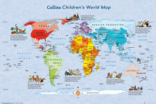 CHILDREN'S WORLD MAP POSTER - 24x36 GLOBE NATIONS GEOGRAPHY COLLINS 34048