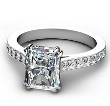 2.00ct Emerald Cut Diamond Engagement Ring 925 Sterling Silver Diamond Ring Gift