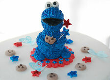 Edible COOKIE MONSTER Birthday Set Handmade Sugarpaste Cake Topper Decoration