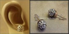 PAVE RHINESTONE GOLD BALL LARGE 10 MM STUD EARRINGS NEW USA SELLER