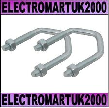 2 X TV AERIAL POLE V U BOLT CLAMP MAST BRACKET 2.5""