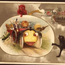 SCARCE..! WITCH DRIVES CREATURES IN FANTASY CAR,DEVIL,HALLOWEEN,WINSCH POSTCARD