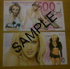 BRITNEY SPEARS 500 EURO NOVELTY BANK NOTE MILLIONAIRE BANKNOTE