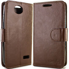 for ZTE Overture 2 Maven Fanfare Wallet Case Brown Folio Faux Leather Pouch LCD