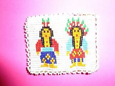 Vintage Native American Indian Beaded Leather Coin Purse Chief Squaw Folk Art