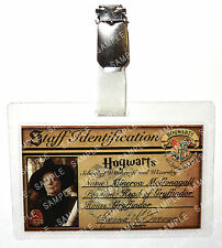 Professor Minerva McGonagall ID Badge Harry Potter Hogwarts Cosplay Halloween