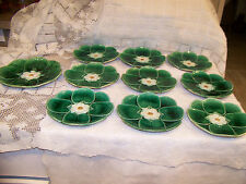 ANTIQUE 10 ENGLISH HOLDCROFF LILLY OF THE POND MAJOLICA PLATES CIRCA 1880