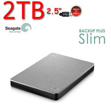 "2To 2.5"" Neuf SEAGATE Backup Plus SLIM USB3.0 Disque dur Externe Portable silver"