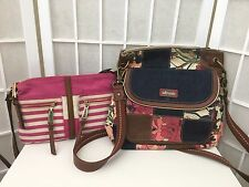 LOT OF 2 NEW DEFECTIVE CROSSBODY BAGS- TOMMY HILFIGER & SAKROOTS WITH EXTRA BAG