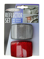2pc FRONT AND REAR REFLECTOR SET FOR BIKE BICYCLE RED WHITE SAFETY EYES FREEPOST
