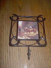 Horse Creek Ceramic Tile Cast Iron Frame With Hanging Hook Western Wall Decor