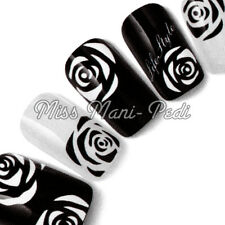 Nail Art Water Transfers Decals Stickers Black White Monochrome Rose Flower Y182