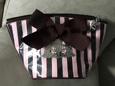 Juicy Couture Brown & Pink Striped Cosmetic Case Heart Zipper Bag Purse Travel