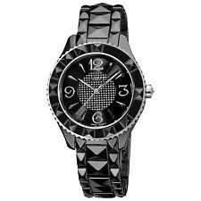 New Women's Akribos XXIV AK533BK All Black Ceramic Pavé Pattern Dial Watch