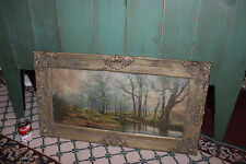 Antique Print Boy Woods Water Trees-Antique Wood Frame Floral Design-Large-LQQK
