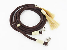 7' BROWN WESTERN NYLON BRAIDED RAWHIDE HORSE SPLIT REINS RANCH COWBOY TACK