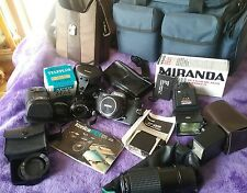 VINTAGE KONICA FC1 CAMERA + 3 CAMERA LENS + 3 CAMERA FLASH + CASE + PADDED BAG