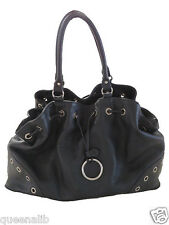 FURLA BLACK LEATHER large TOTE SATCHEL shopper BAG handbag Purse NEW $449