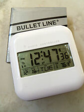 BULLET LINE RADIO CONTROLLED DIGITAL CLOCK ALARM WITH INDOOR THERMOMETER DATE!