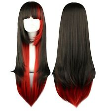 Ladies 70cm Mixed Color Black Red Long Straight Full Wig Hair Cosplay QT
