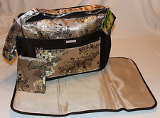 NEW – 3 Piece Baby Diaper Bag - Brown Cream Brocade - Bag & Pad & Clutch