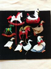 VINTAGE MIX LOT CHRISTMAS GEESE HORSE ORNAMENTS HOLIDAY
