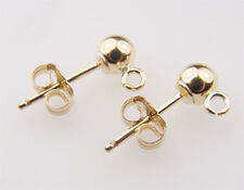 14k Gold Filled 4mm Ball Post Earrings /w Ring 12sets/6pairs  #6205-4