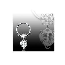 "1 Pc 16g 3/8"" Diameter heart C.Z captive ring, earring, lip, tragus piercing"