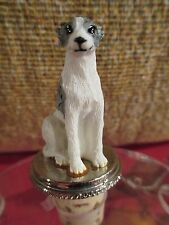 Whippet Gray And White Dog Wine Stopper