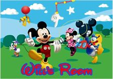 Mickey Mouse & Personalized Name Repositionable Wall Sticker Wall Mural 3 FT