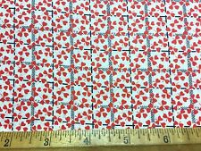 Vintage Cotton Fabric 40s50s SWEET Lil Red Heart Flowers 36w 1yd
