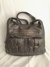 Dark Gray Pewter Purse Faux Leather M/L Size Adjustable Strap NEW