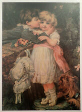 """Victorian Lithograph Print Picture Over The Garden Wall 5"""" X 7"""" Girl Boy Kissing"""