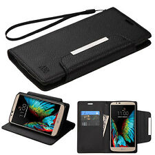 NEW For LG K10 PHONE BLACK STRAP WALLET LEATHER SKIN COVER CASE + SCREEN FILM