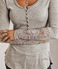 Fashion Women New Button Top Long Sleeve Blouse Casual Tank Tops T-Shirt Lace S