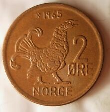 1965 NORWAY 2 ORE - MOOR HEN - Excellent Coin - FREE SHIP- Norway Bin #4