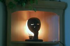 Art Deco Moon Face Table Lamp Black Metal and glass